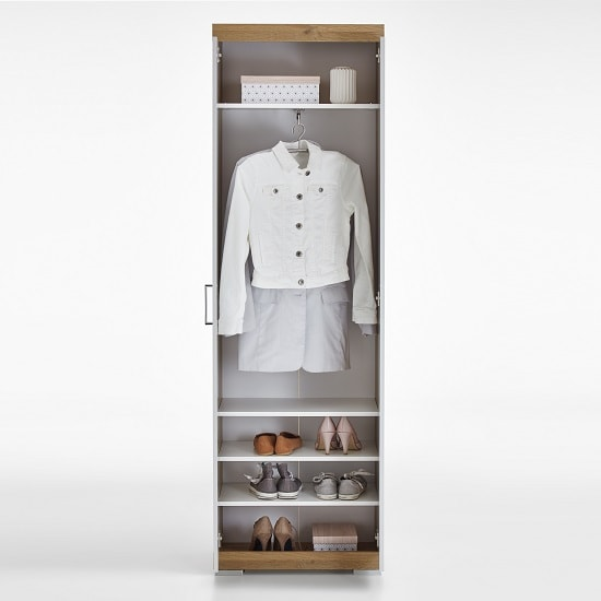 Holte Hallway Wardrobe In Oak And Glossy White With 2 Doors_2