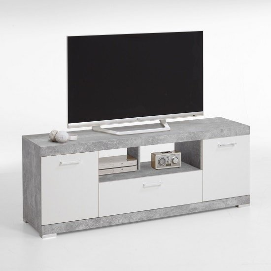 Holte TV Stand In Light Atelier And White Gloss With 2 Doors