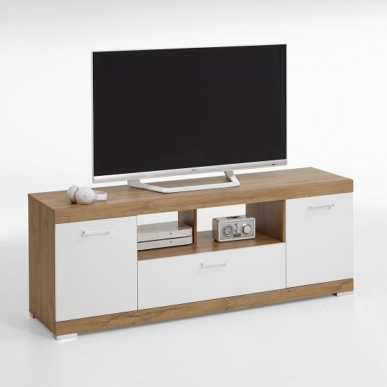 Holte Wooden TV Stand In Oak And White Gloss With 2 Doors
