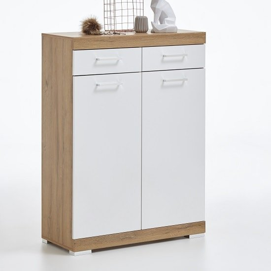 Holte Wooden Shoe Storage Cabinet In Oak And Glossy White