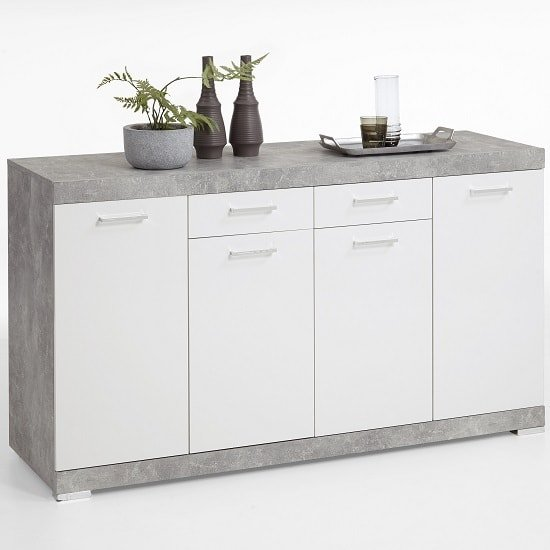Holte Wooden Sideboard In Light Atelier And Glossy White