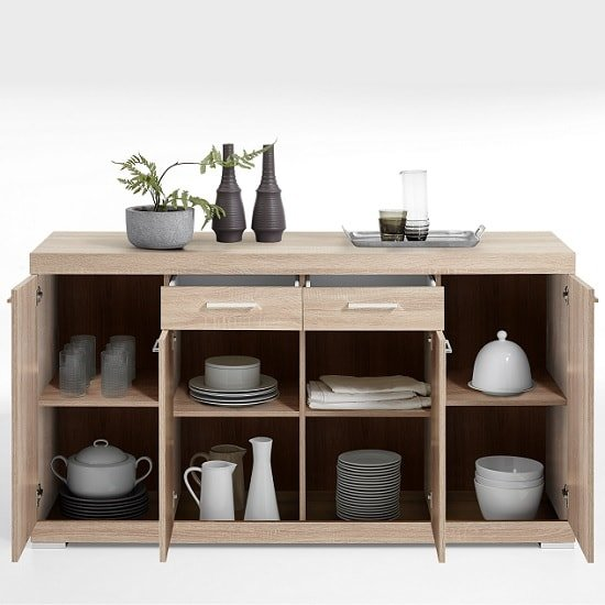 Holte Wooden Sideboard In Oak Tree With 4 Doors_2