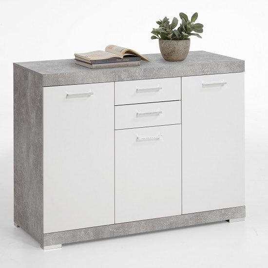 Holte Wooden Sideboard Small In Light Atelier And Glossy White