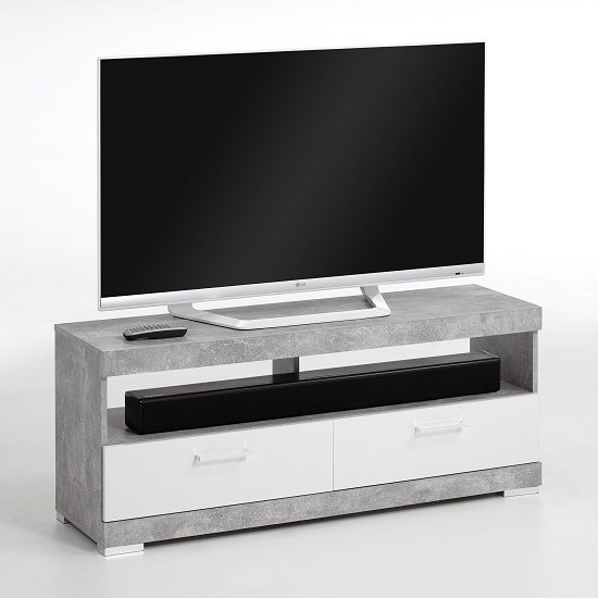 Holte TV Stand In Light Atelier And White Gloss With 2 Drawers_1
