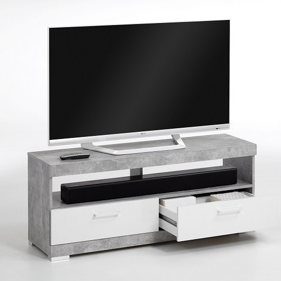 Holte TV Stand In Light Atelier And White Gloss With 2 Drawers_2