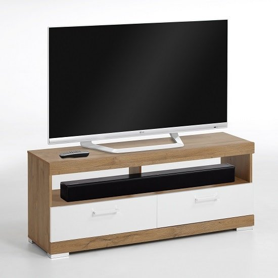 Holte Wooden TV Stand In Oak And White Gloss With 2 Drawers