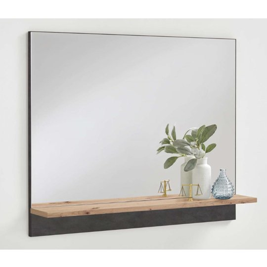 Holte Wall Mirror In Matera And Artisan Oak Shelf