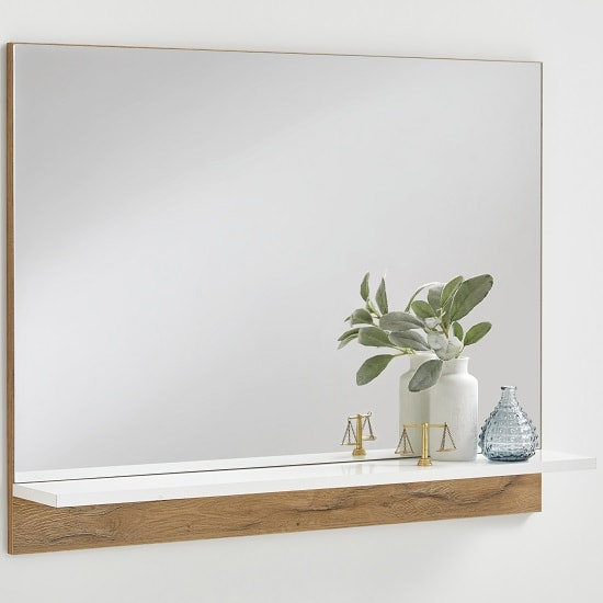 Holte Wall Mirror In Oak With Glossy White Shelf_1