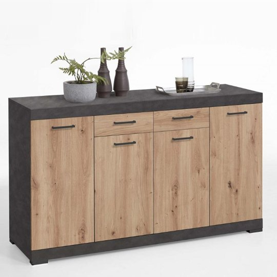 Holte Wooden Large Sideboard In Matera And Artisan Oak