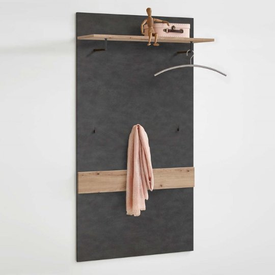 Holte Wooden Wall Mounted Coat Rack In Matera And Artisan Oak