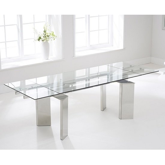 Holte Extendable Glass Dining Table With Stainless Steel Legs