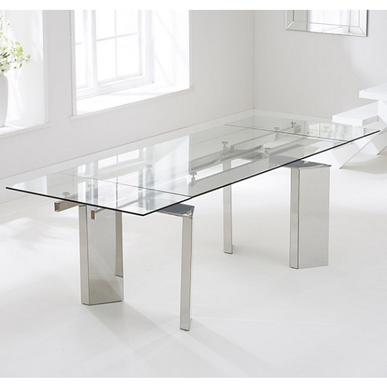 Holte Extendable Glass Dining Table With Stainless Steel