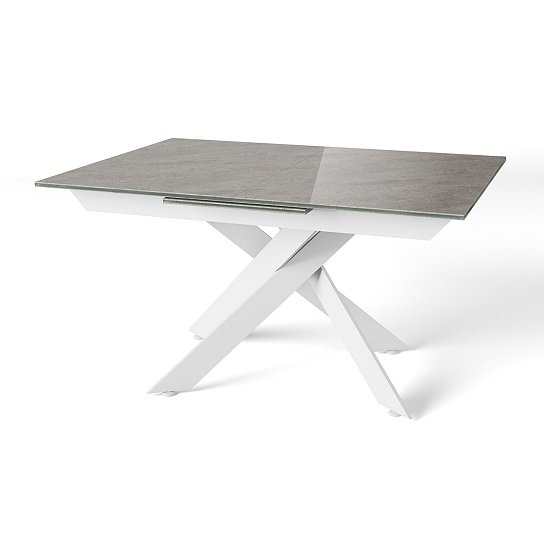Holter Ceramic Extending Dining Table In Light Grey_1