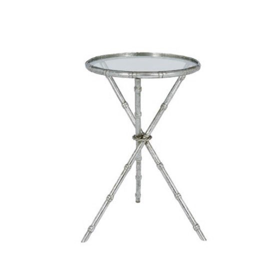 Holzman Glass Side Table In Clear With Silver Finish Frame