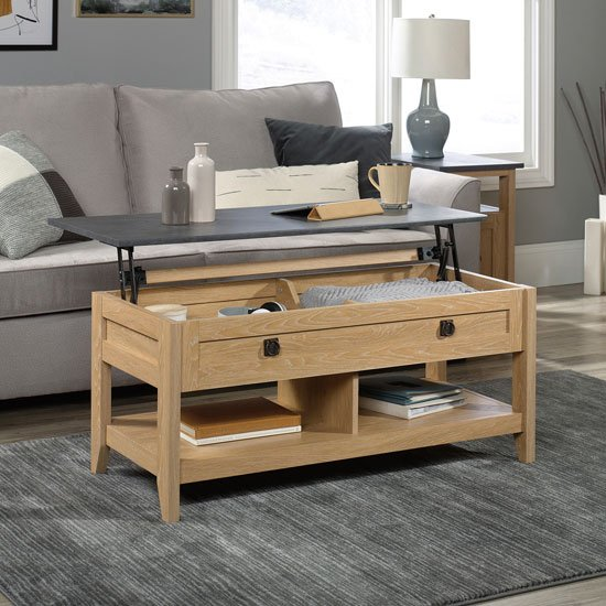View Home study wooden lift up coffee table in dover oak