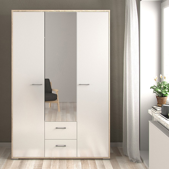 Homeka Mirrored Wooden Wardrobe In Oak And White High Gloss