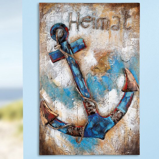 Homeland Picture Metal Wall Art In Blue And Brown