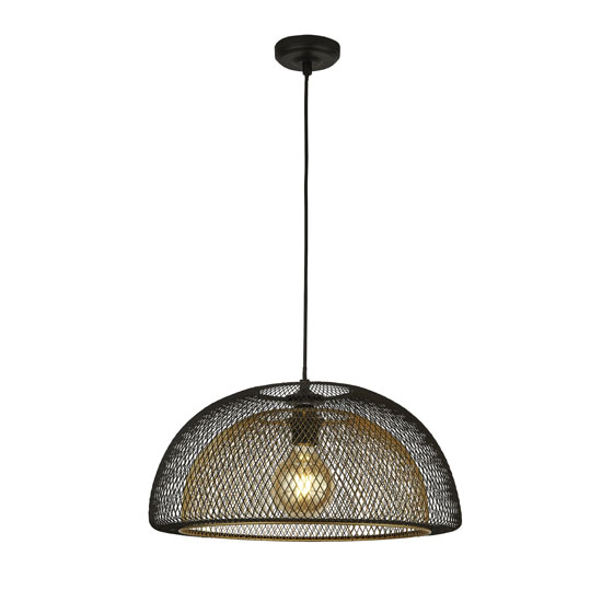 Honeycomb 1 Pendant Light In Black Outer With Gold Inner