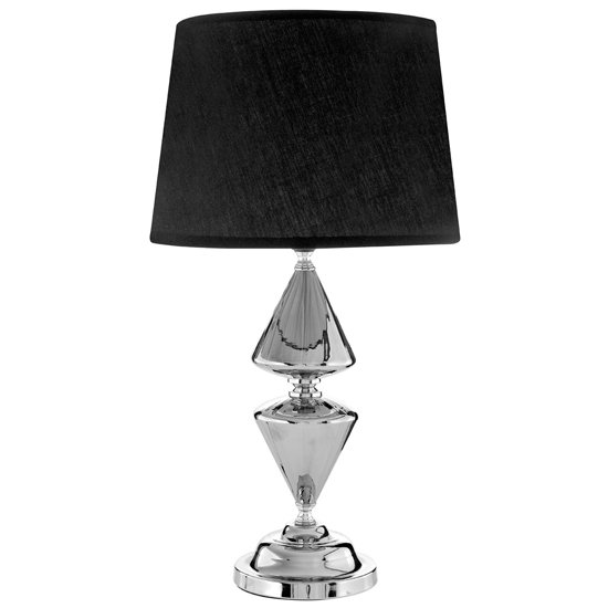 Honorus Black Fabric Shade Table Lamp With Chrome Glass Base