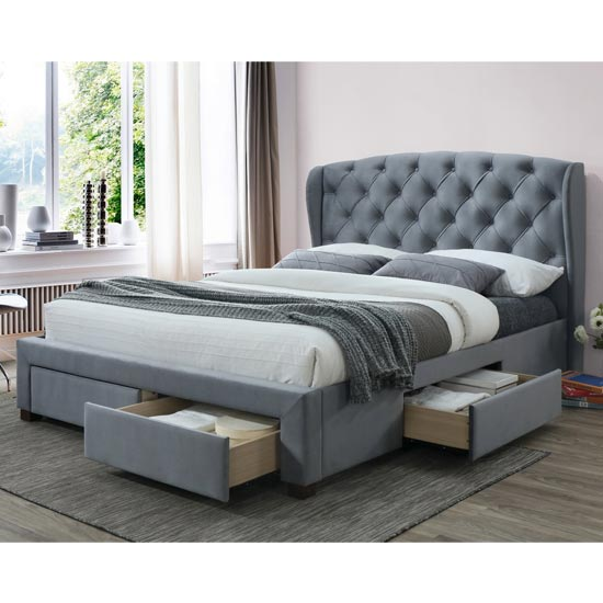 Product photograph showing Hope Fabric Double Bed In Grey Velvet