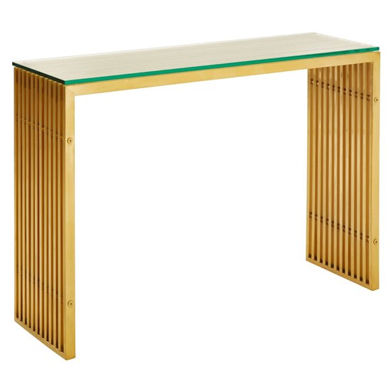 Fafnir Glass Console Table With Golden Base