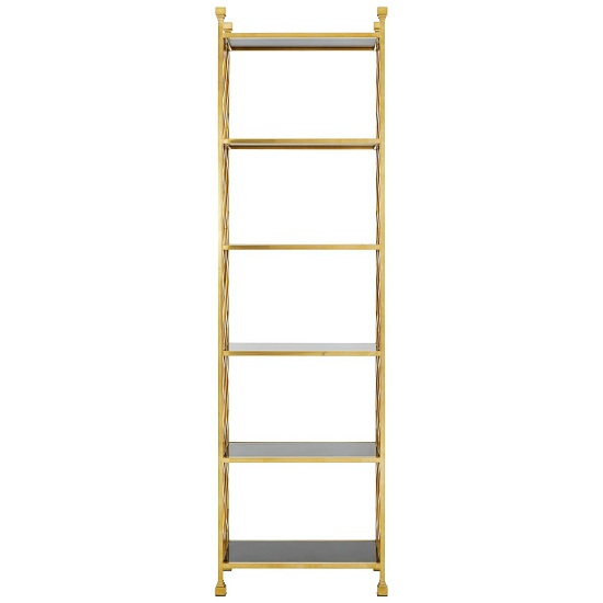 Horizon Gold Brick Design Bookshelf With Glass Shelves