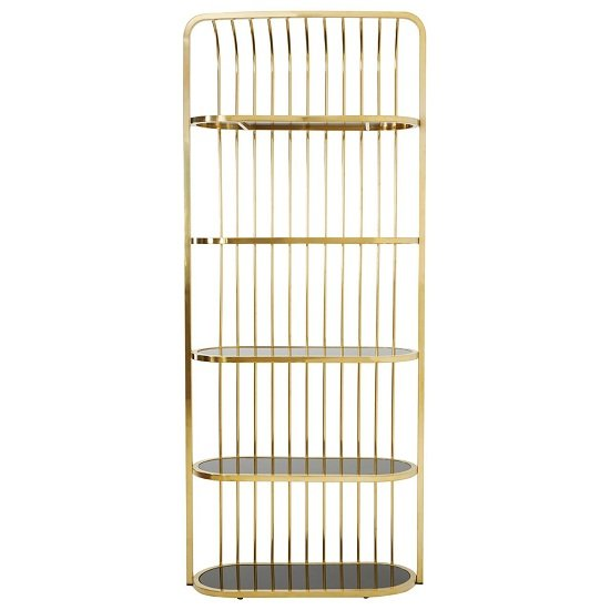 Horizon Gold Cage Design Bookshelf With 5 Black Glass Shelves