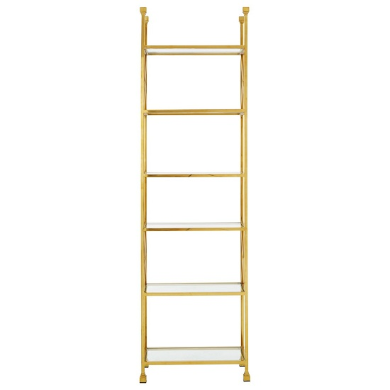 Fafnir Gold Cross Design Bookshelf With 5 Glass Shelves