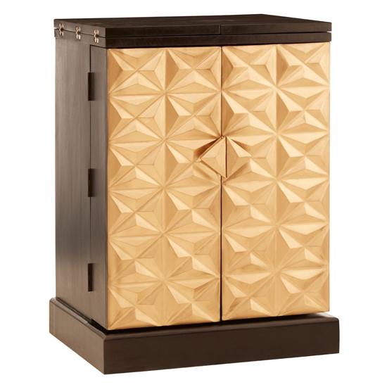 View Horna mango wood bar storage unit in gold