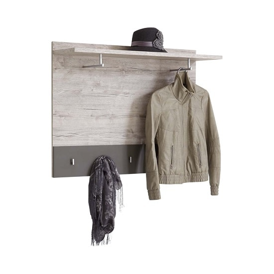 Hoskin Modern Wall Mounted Coat Rack In Sand Oak And Lava
