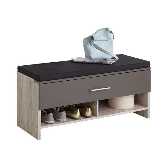 Hoskin Shoe Bench In Sand Oak And Lava With 1 Drawer_1