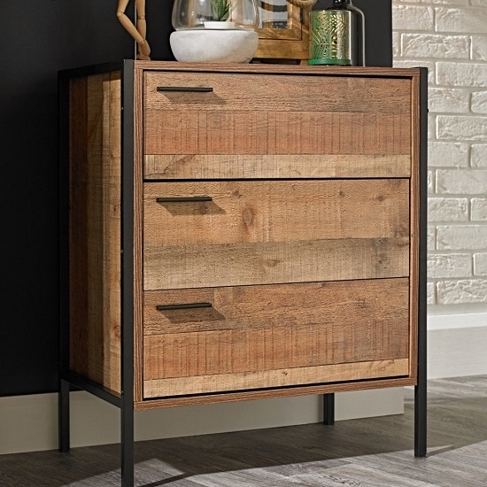 Hoston Chest Of Drawers In Distressed Oak With Three Doors