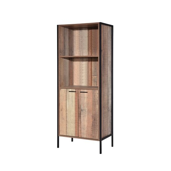 Hoston Display Cabinet In Distressed Oak Finish