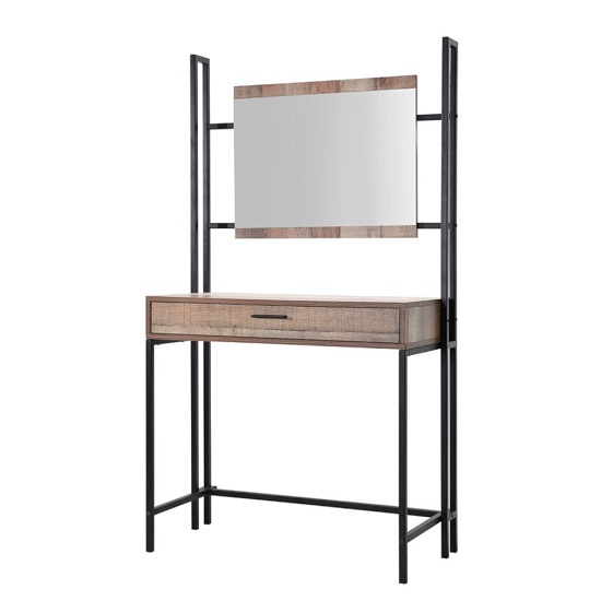 Hoston Dressing Table In Distressed Oak Finish With Mirror