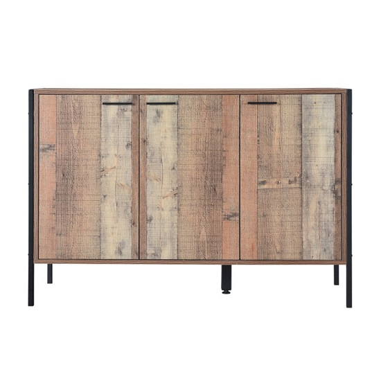 Hoston Sideboard In Distressed Oak Finish With Three Doors
