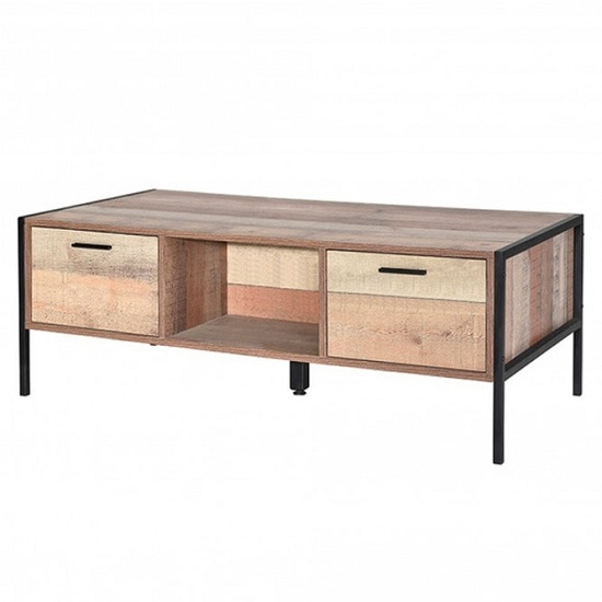 Hoston Two Drawers Coffee Table In Distressed Oak Finish