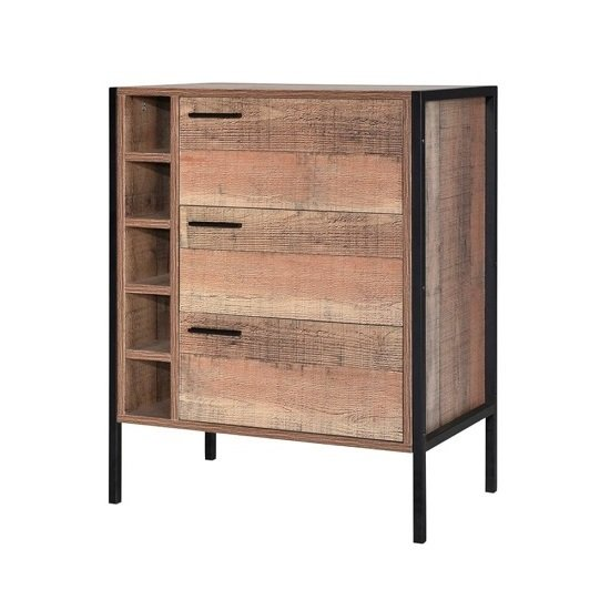 Product photograph showing Hoston Wine Cabinet In Distressed Oak Finish