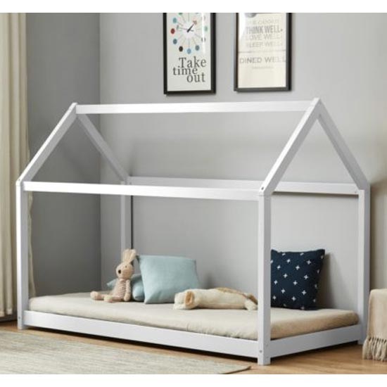 House Wooden Single Bed In White