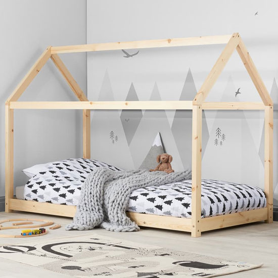 House Wooden Single Bed In Natural Pine
