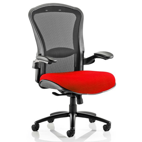 Houston Heavy Black Back Office Chair With Bergamot Cherry Seat