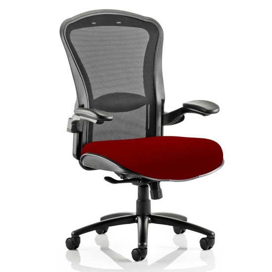 Houston Heavy Black Back Office Chair With Ginseng Chilli Seat
