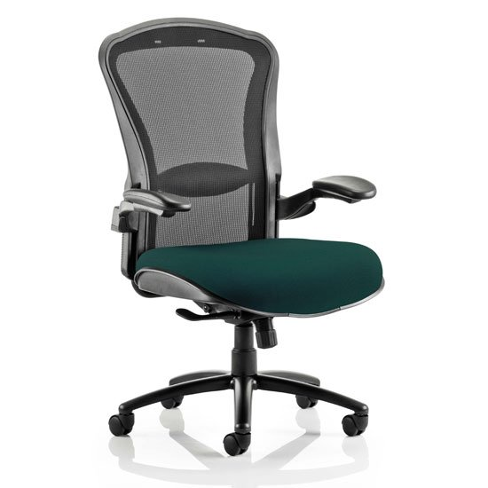 Houston Heavy Black Back Office Chair With Maringa Teal Seat