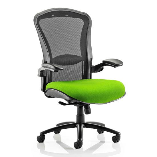 View Houston heavy black back office chair with myrrh green seat