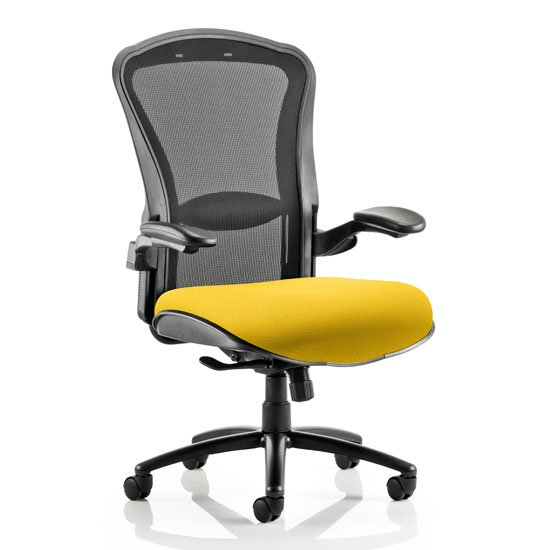 Houston Heavy Black Back Office Chair With Senna Yellow Seat