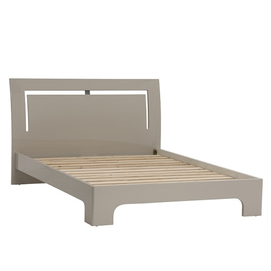 Houston Contemporary Double Bed In Grey Gloss
