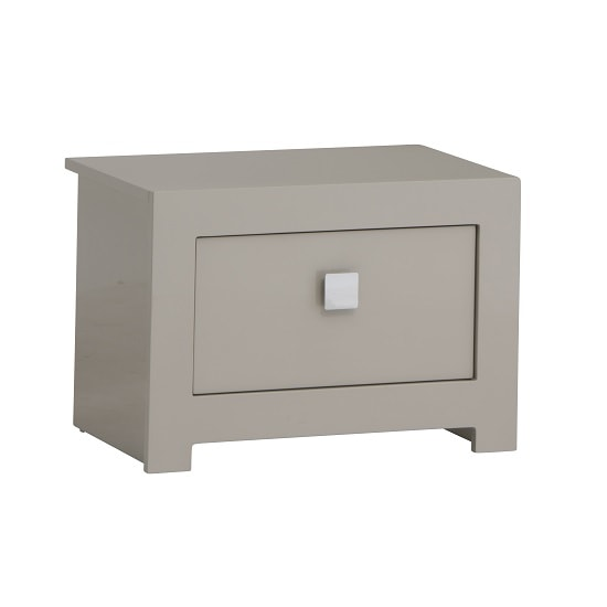Houston Bedside Cabinet In Grey Gloss With 2 Drawers