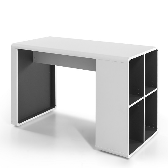 Houston Computer Desk In White And Anthracite With Shelving_3