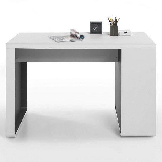 Houston Computer Desk In White And Anthracite With Shelving_2