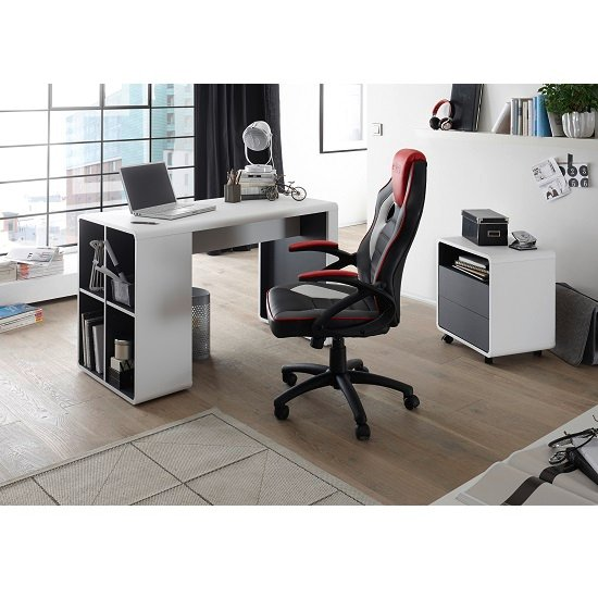 Houston Computer Desk In White And Anthracite With Shelving_4