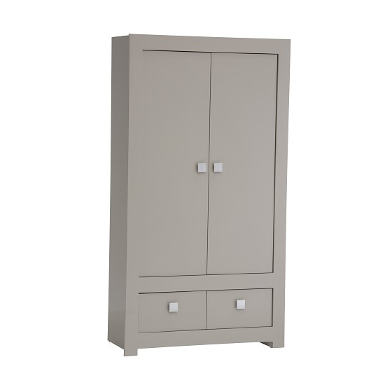 Houston Wardrobe In Grey Gloss With 2 Doors And 2 Drawers